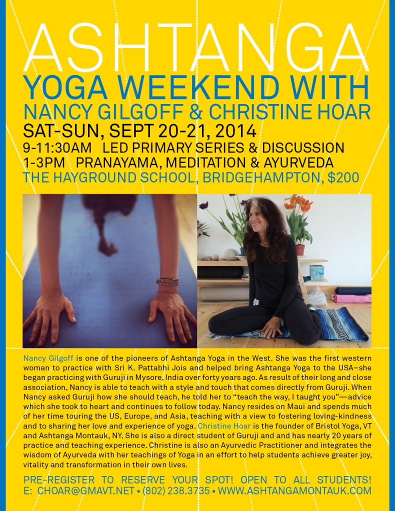 ashtanga WORKSHOP WEEKEND SEPTEMBER NEW